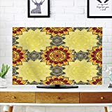 iPrint LCD TV Cover Lovely,Yellow Mandala,Bohemian Floral Decorative Motifs Framework Colorful Hippie Traditional Decorative,Multicolor,Diversified Design Compatible 70'' TV