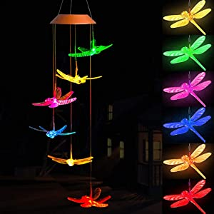 ME9UE Solar Dragonfly Wind Chimes, Outdoor Waterproof Mobile Romantic LED Color-Changing Multi Solar Sensor Powered Wind Chimes Lights for Home, Yard, Night Garden, Party, Festival Decor