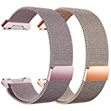 hooroor Compatible Sport Loop Bands Replacement for Fitbit Ionic Smart Watch, Breathable Comfortable Adjustable Closure Wrist Milanese Wristbands Straps Women Men 2 Pack (Rose Pink+Rose Gold, Small)