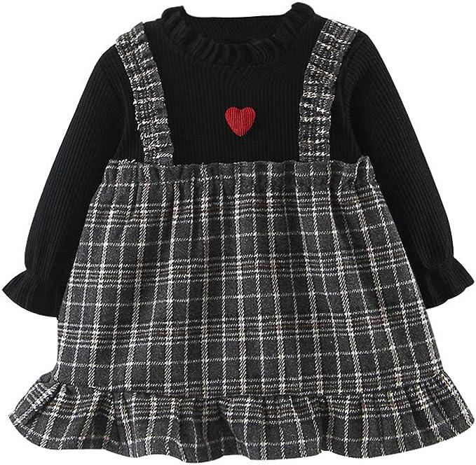 MAYOGO Vestido Bebé Niña Otoño Manga Larga de Cuadros 12 Meses ...