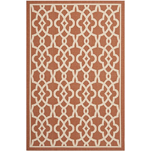 Safavieh Courtyard Collection CY6071-241 Terracotta and Beige Indoor/Outdoor Area Rug (8′ x 11′) For Sale
