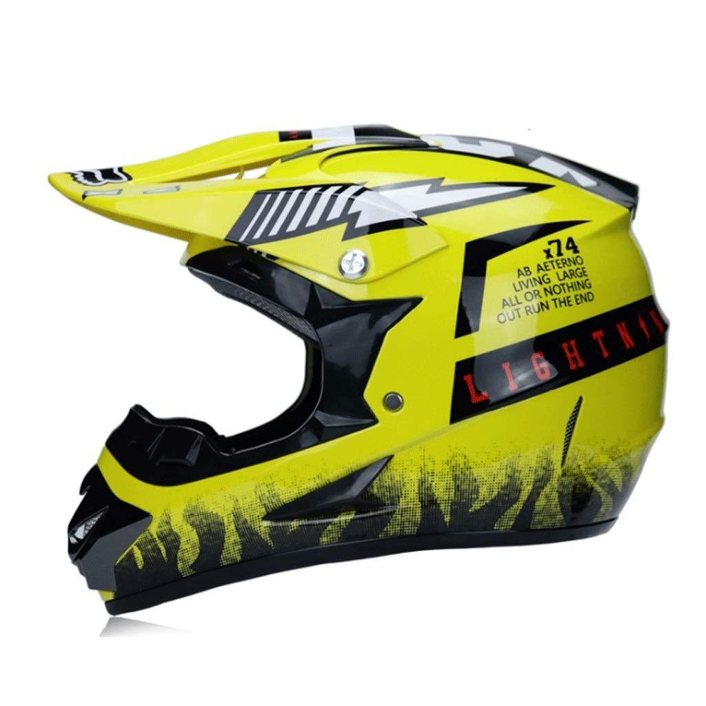 オフロードバイクヘルメット山岳自転車用ヘルメット屋外用乗馬用ヘルメットプロ用レーシング防護具 (Color : 黄, Size : M)