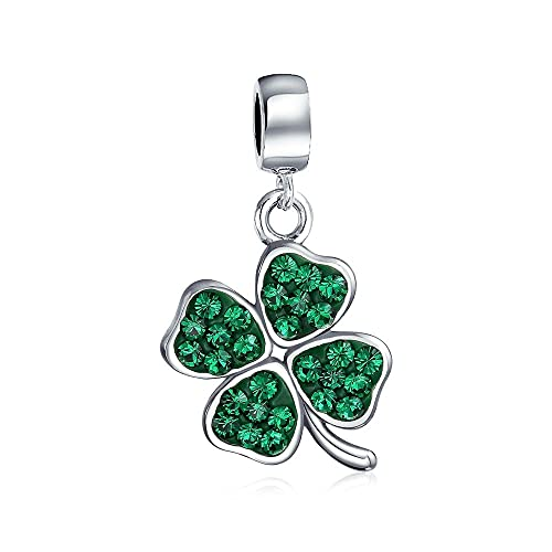9b78c2dbd Amazon.com: Celtic Lucky Leaf Clover Green Crystal Shamrock Irish Dangle  Bead Charm For Women 925 Sterling Silver: Jewelry