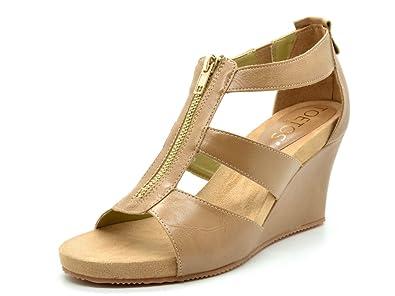 ca8115cac110 TOETOS Women s Solsoft 2 Nude Pu Mid Heel Platform Wedges Sandals - 6.5 ...