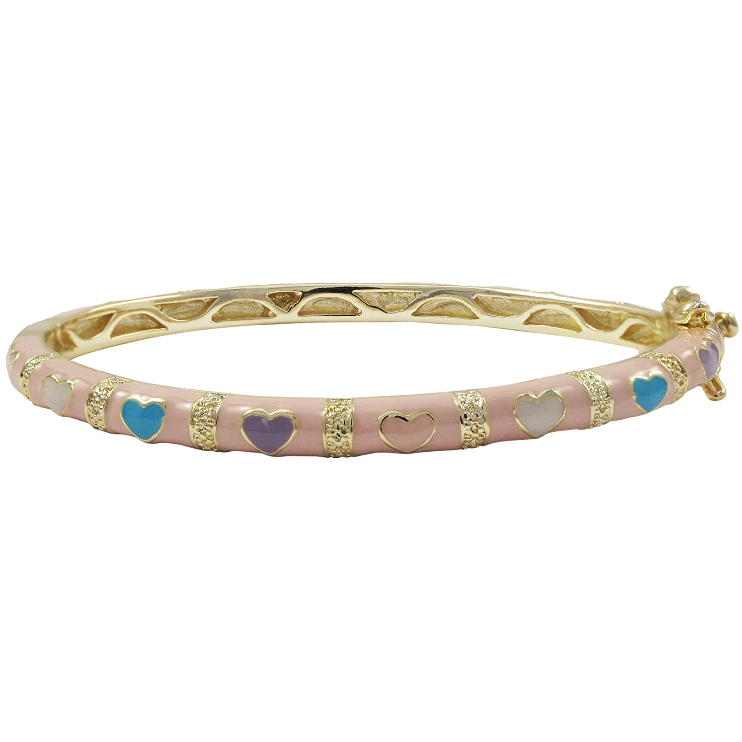 Ivy and Max Gold Finish Pink and Multi-Color Enamel Heart Girls Bangle Bracelet 50-m