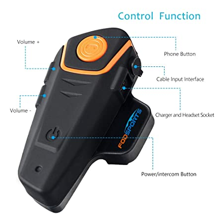 Fodsports BT-S2 Moto Intercom Bluetooth Headsets Impermeable Auriculares Intercomunicador de Casco de Motocicleta con 1000m, GPS, Radio FM, Reproductor de ...