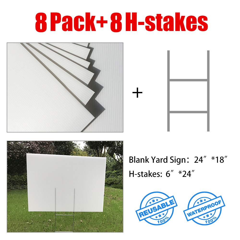 MEJOR CONOCIDO 8 Pack 24''x18'' White Blank Lawn Yard Signs Corrugated Plastic Sheet with Durable H-Stakes, Opening Business, Garage Rent, House Sale