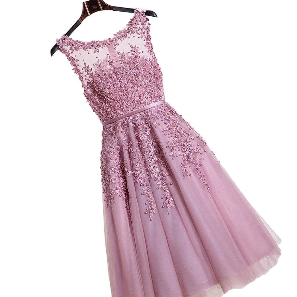 Elegant Beads Lace Appliques Sheer Mesh Flare Party Dress Short Bridesmaid Dress,Pink,12