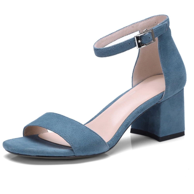 fc0d037a2 Buena Sandalias De Mujer Palabra Hebilla Zapatos De Tacón Alto Dedo del Pie  Joker De Moda