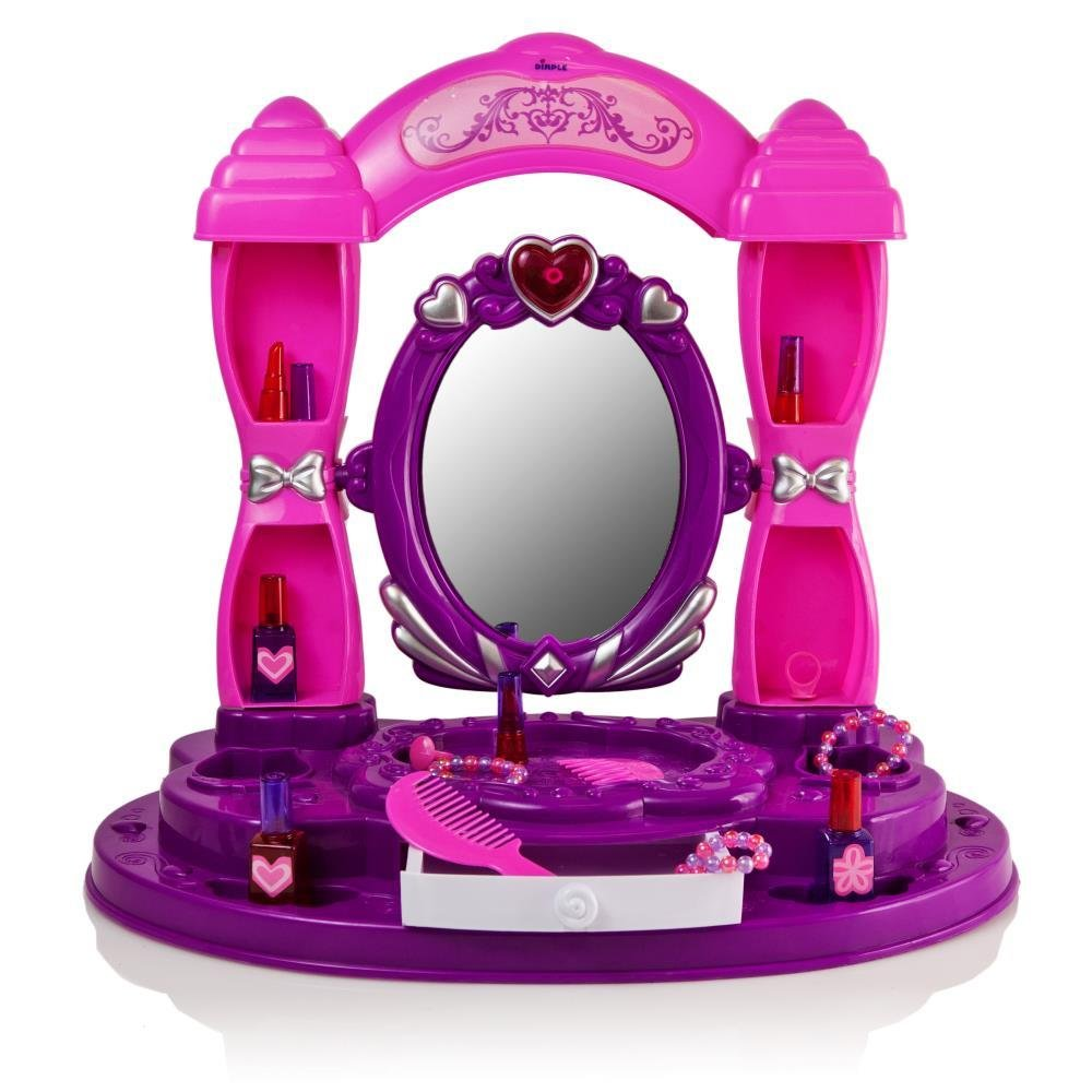 """Amazon: Girls Table Top Vanity Set """"Little Princess"""" With Build In  Mirror, Shelves, & Drawer, 13 Fashion & Makeup Accessories Including  Lipsticks,"""