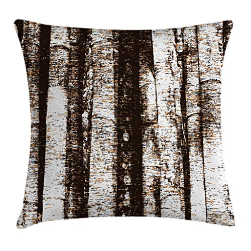 Ambesonne Grunge Throw Pillow Cushion Cover, Murky Tree Trunks Background with Messy Old Oak Woodland Style Graphic Print, Decorative Square Accent Pillow Case, 18 X 18 Inches, Dark Brown White