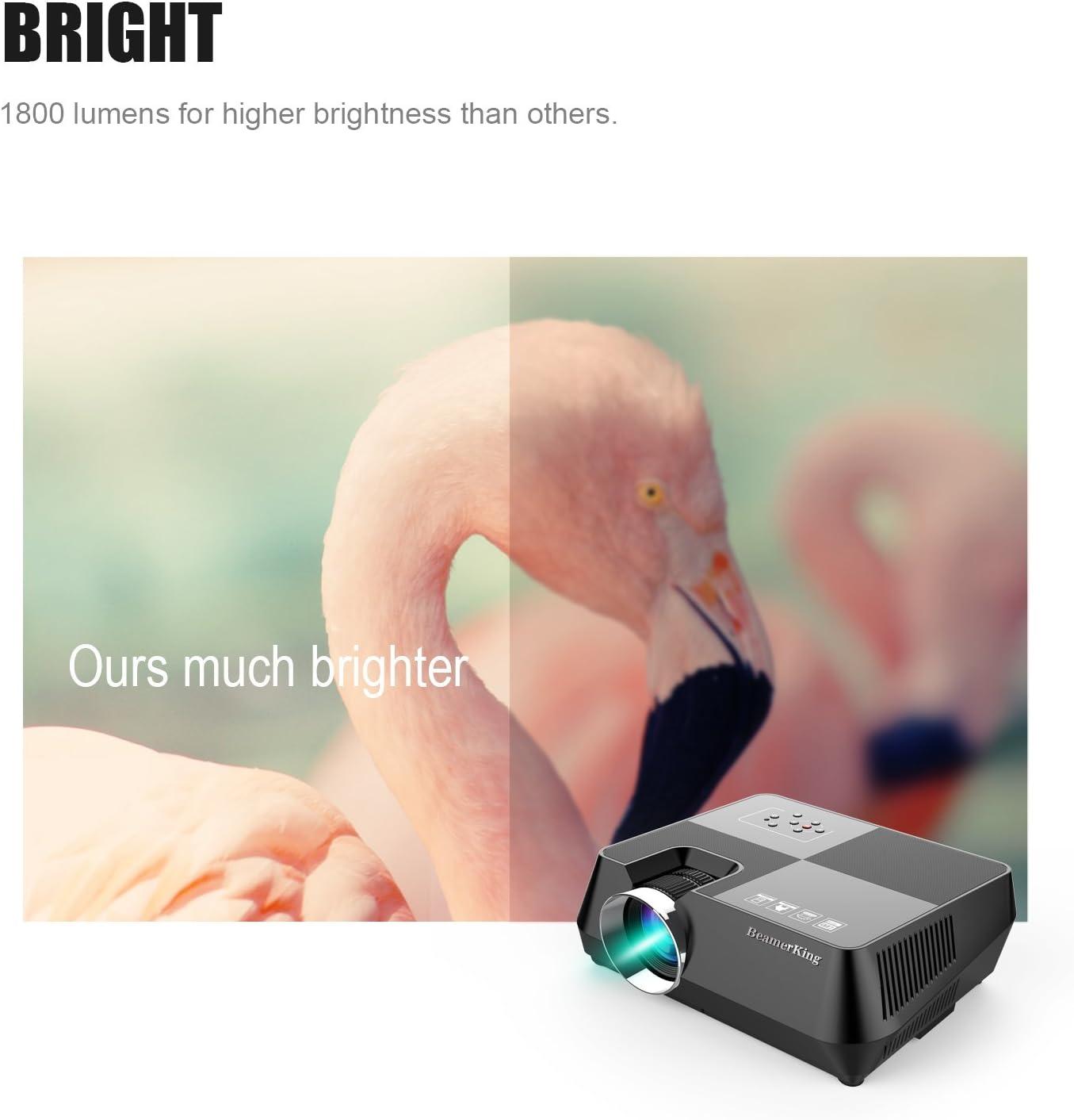 Mini Proyector Portatil de 1800 Lúmenes, BeamerKing GTS8 LED Vídeo ...