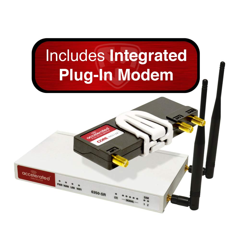 Accelerated Modular 6350-SR LTE Router (Without Wi-Fi) and Integrated Plug-in LTE Modem; CAT 6; LTE/HSPA+ / EV-DO by Accelerated