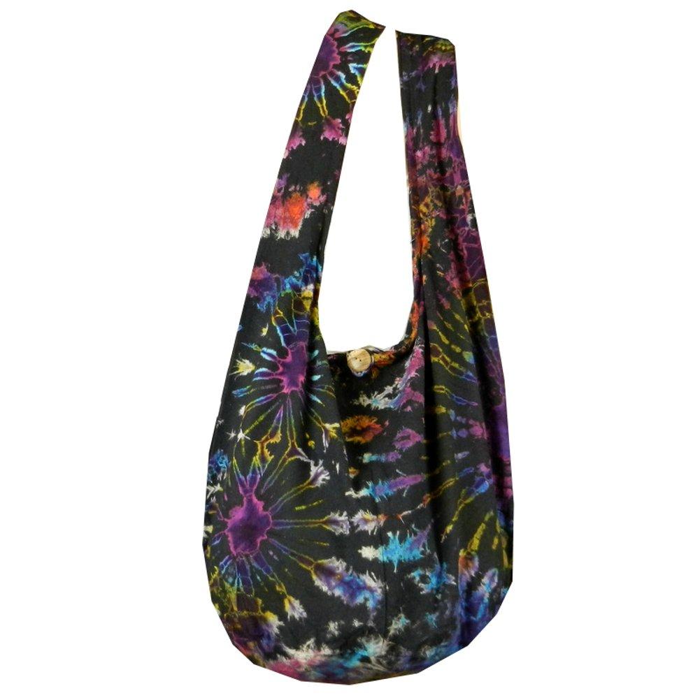 BTP! Tie Dye Sling Crossbody Shoulder Bag Purse Hippie Hobo Cotton Bohemian Colorful Firework (Double Side Firework VZ15)