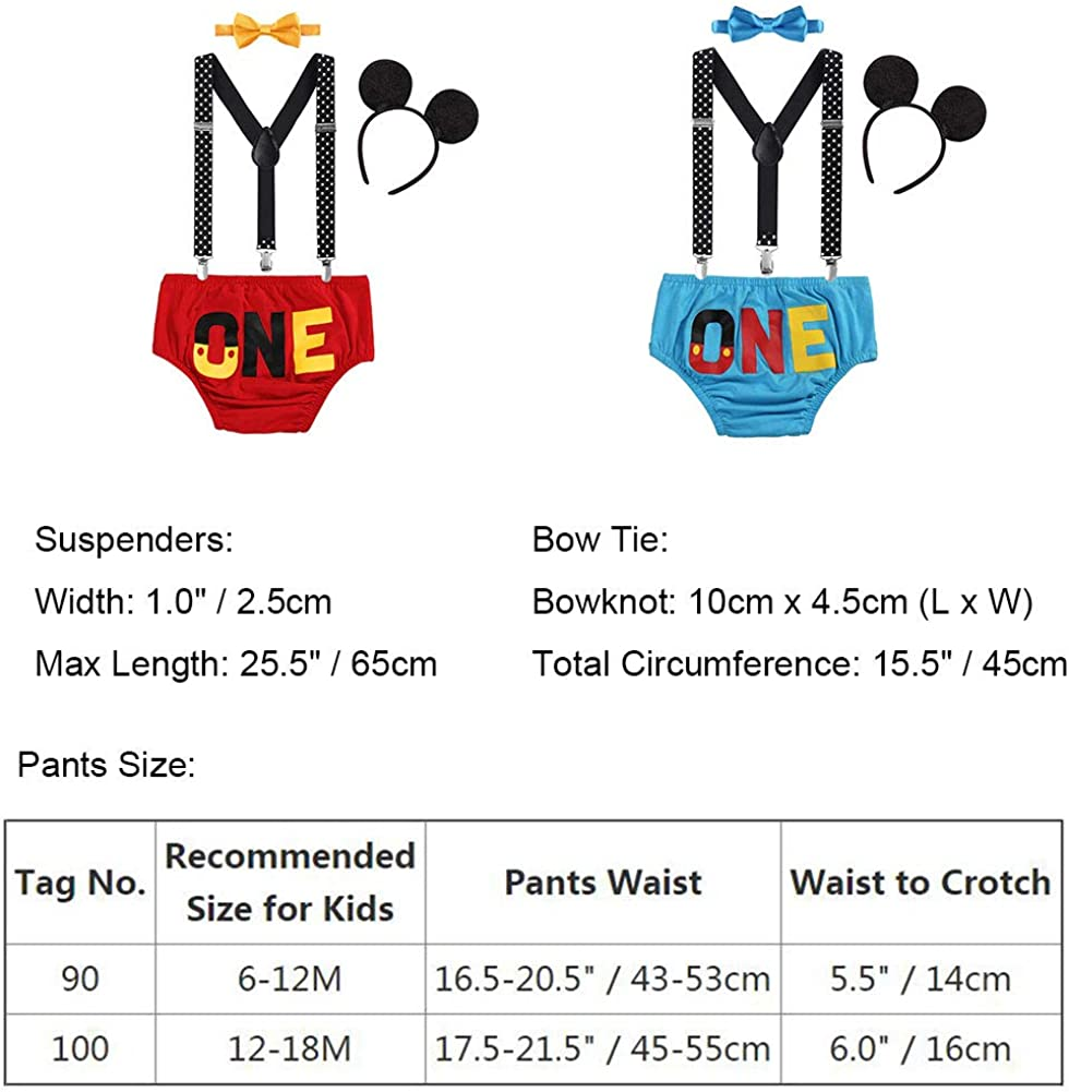 FYMNSI Baby Boys 1st Birthday Cake Smash Costume Photo Props 4PCS Outfits Suspender Bloomers Bowtie Headband