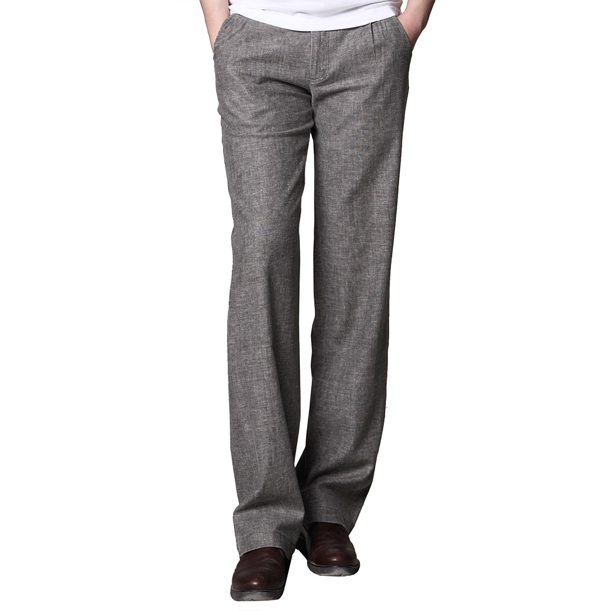 MARKLESS Men Summer Thin Straight Linen Pants Casual Commercial Slim Fit Trousers (31W30L, Gray) by MARKLESS