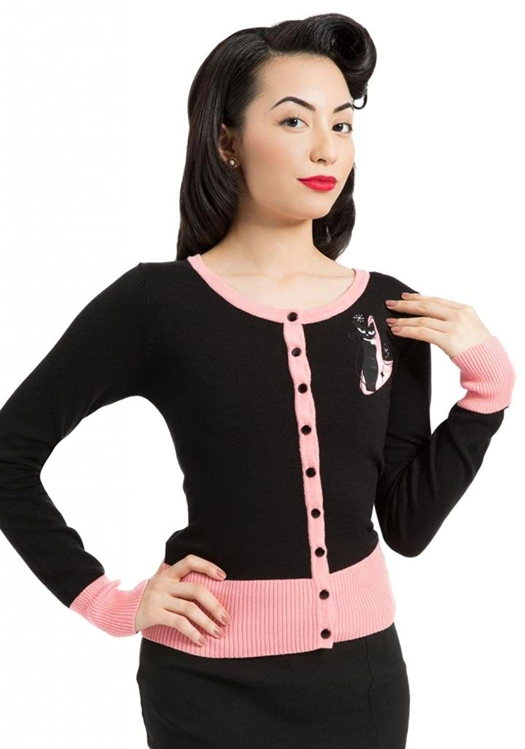 1950s Style Sweaters, Crop Cardigans, Twin Sets Retro Kitty Cardigan Black                                AT vintagedancer.com