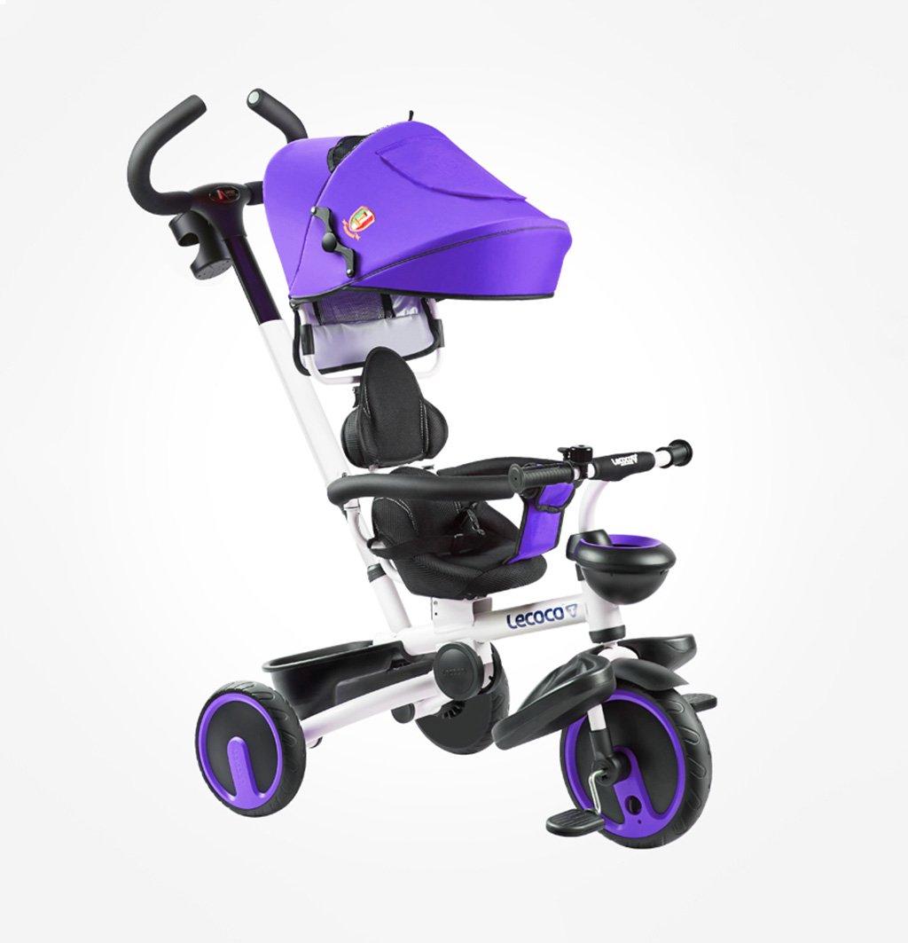 子供用三輪車1-5歳バイク折りたたみ式/静か/回転式ベビーキャリッジベビーハーネスベビー用ベビーカーパープル25 Kg B07F384J49