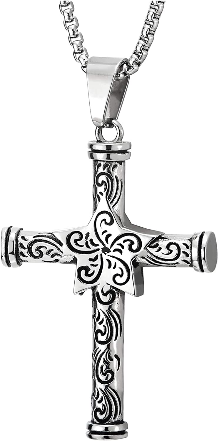 Tribal Tattoo Pattern with Black Resin Ball Mens Womens Steel Vintage Star Cross Pendant Necklace