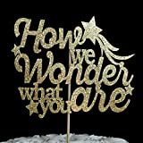 How we Wonder what you are Gold Glitter Paper Gender Reveal Baby Shower Cake Topper