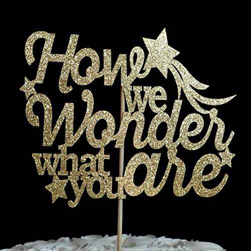 How we Wonder what you are Gold Glitter Paper Gender Reveal Baby Shower Cake Topper by Decorate Your Big Day