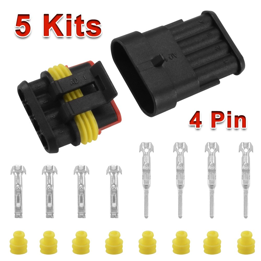 XCSOURCE 5 Sets of 4 Way Car Superseal Waterproof Electrical Terminal Wire Connector Pin Plug Kit for Motorcycle Scooter Car Truck Quad Bike Caravan Marine Jet Ski Boats MA380