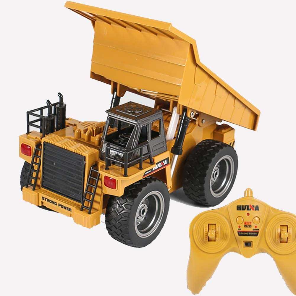 Remote Control Dump Truck 6 Channel RC Construction Vehicle Toys 2.4GHz Auto Dumping with Lights Rechargeable Battery Gifts for Boys Girls Toddlers