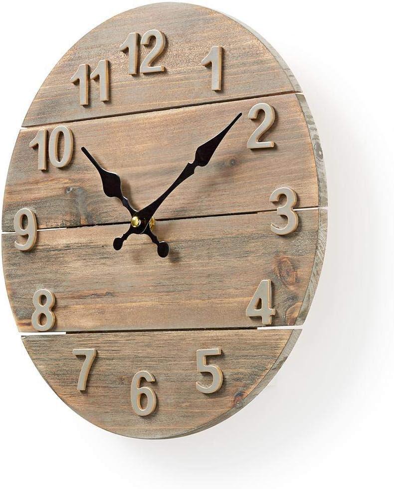 30 cm de Diam/ètre Bois Nedis CLWA002WD30 Horloge Murale Circulaire