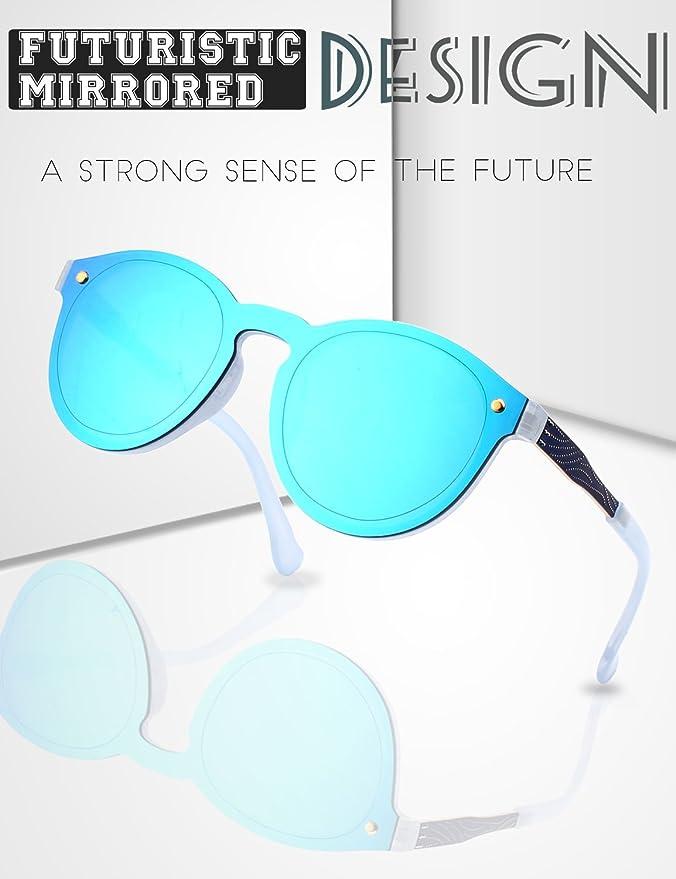 707adadd79 GQUEEN Futurista Sin Marco Redondas Gafas de Sol Protector Reflexivo Espejo  Anteojos para Hombre Mujer MEO5: Amazon.es: Ropa y accesorios