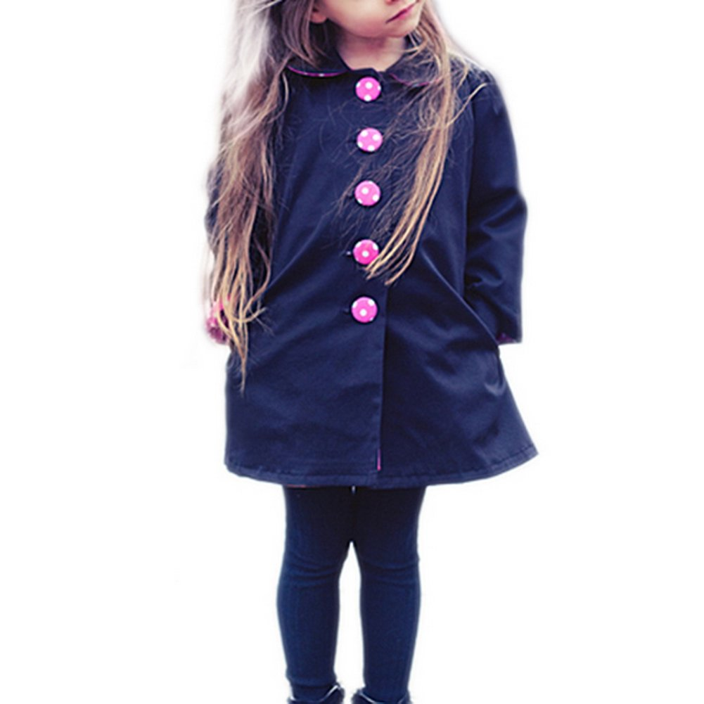 Vogholic Big Girls' Trendy Round Collar Long Autumn Trench Coat VOG-01583