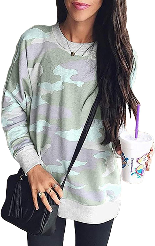 Sidefeel Women Long Sleeve Crewneck Pullover Camo Print Sweatshirt Jumper Top at  Women's Clothing store