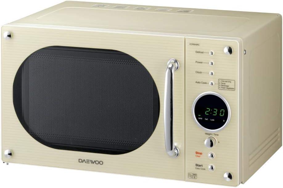 Daewoo Design Retro Horno de Microondas 23 litros, Crema
