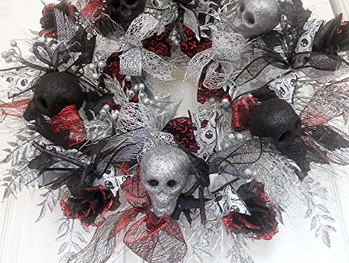 XL Halloween Skull Wreath, Premium Door Wreathe, Skeleton Wreath for front door, Halloween Bling, Black silver white, red damask,