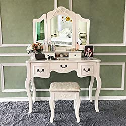 Blongang Vanity Table Set Tri-Folding Mirror Vanity Dressing Table Set with Stool 5 Drawers Bedroom Makeup Vanity Table Set (Ivory White)