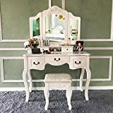 Blongang Vanity Set Tri-Folding Mirror Vanity Dressing Table Set with Stool 5 Drawers Bedroom Makeup Vanity Table Set (Ivory White)