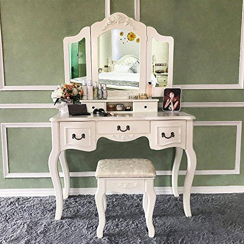 Blongang Vanity Table Set Tri Folding Mirror Vanity Dressing Table
