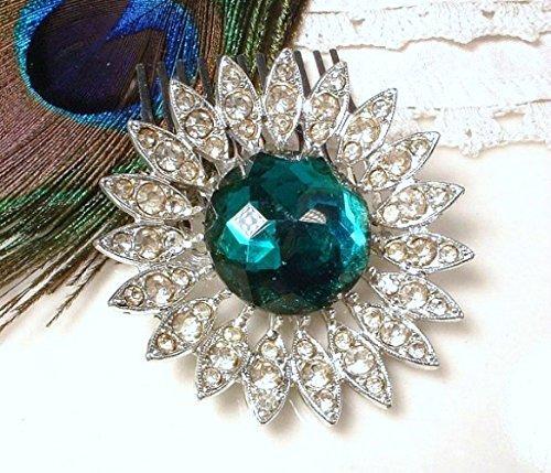 Amazon Com Emerald Green Bridal Hair Comb Vintage Pave Crystal