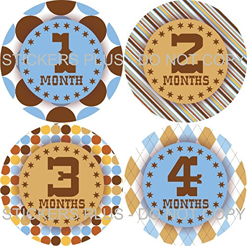 Baby Boy Month Stickers Monthly Baby Milestone Stickers Bodysuit Stickers Western Stars Dots Argyle Blue Brown