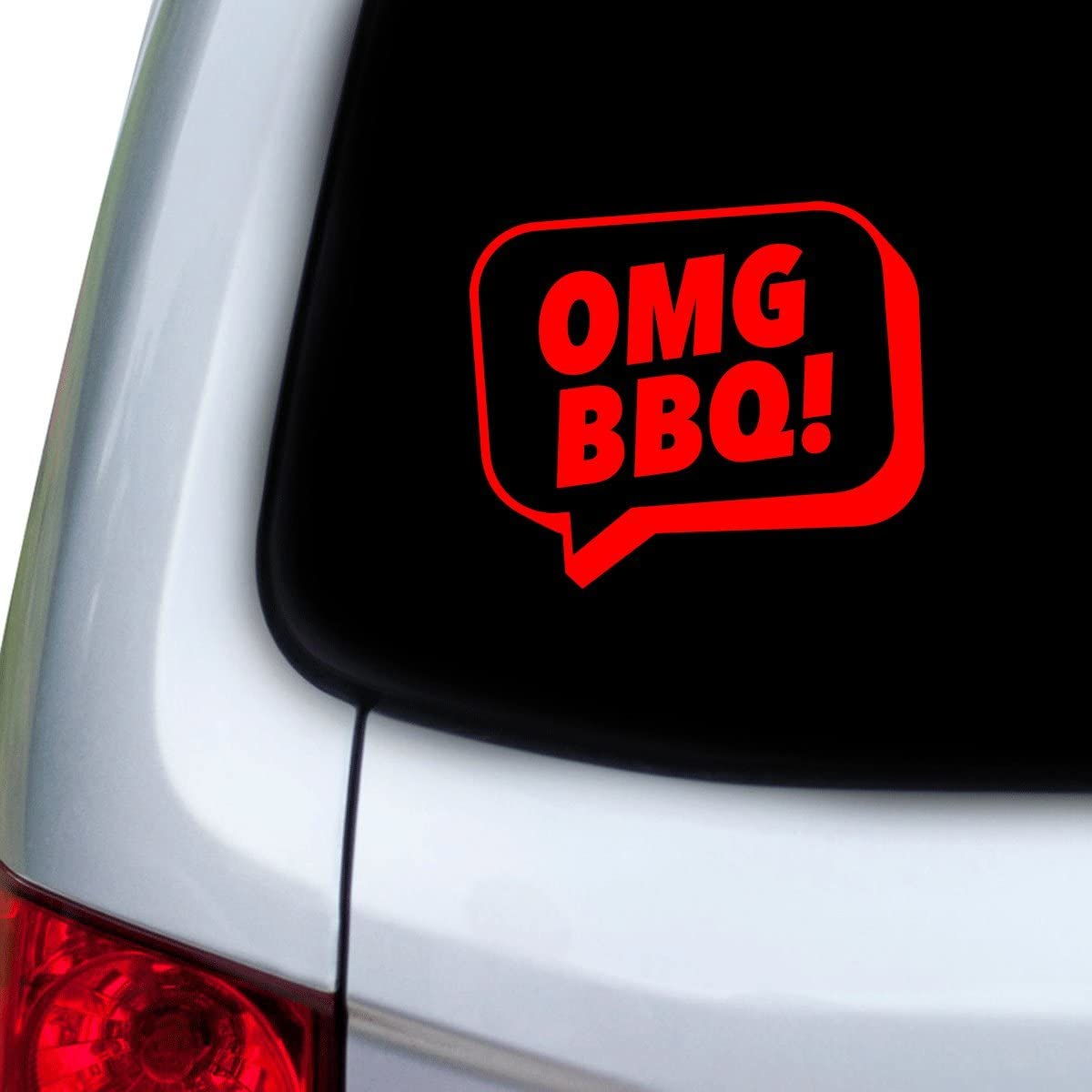 Red StickAny Car and Auto Decal Series OMG BBQ Speech Bubble Sticker for Windows Doors Hoods