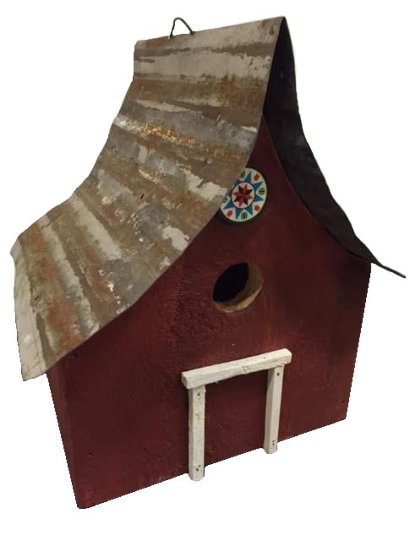 12.25  Fully Functional Red Country Rustic Birdsbgold Outdoor Garden Bird House