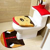 ShowPower Weihnachtsdeko Weihnachtsdekoration WC-Sitz Cover Wärmer Toiletten Sitzbezug Teppich Kreativ Festival Ornament Home Badezimmer Verziert Toilet Seat Cover + Toilet Paper Box Cover + Rug Set (Rentier 03)