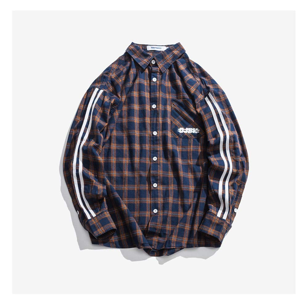 Color : Blue, Size : M MUMUWU Men Long Sleeve Autumn Loose Casual Plaid Shirt Jacket