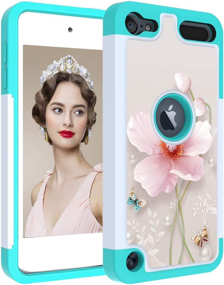 iPod Touch 7 Case, iPod 6th Case IQD Girls Hard Shell Drop Silicone Protection Cover Dual Layers Heavy Duty for Apple iPod Touch 7 6 5th Generation (Pearl Flower)