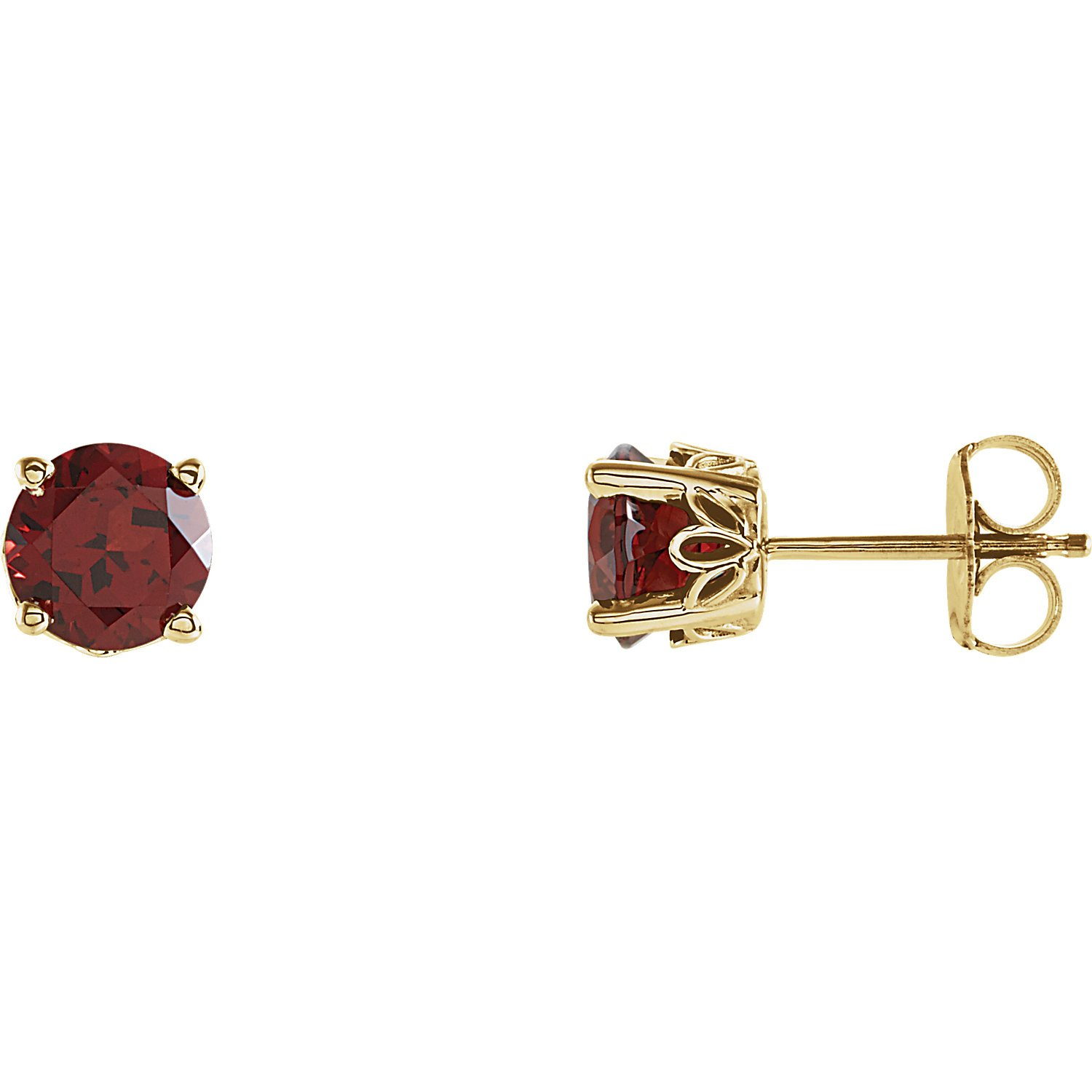 Mozambique Garnet Scroll Design Round 4-Prong Stud Earrings in 14k Polished White Gold