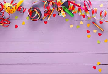 Laeacco Carnival Party Background 7x5ft Light Purple Wooden Board Vinyl Photography Backdrop Colorful Streamers Heart-Shape Confetti University Prom Birthday Girls Portraits Shoot Studio Prop
