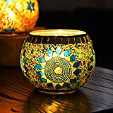 """YJY European Style Glass Candle Holder - Handmade Mosaic(Sunflower) 3.9"""" for 2.7"""" Tea Light - Home Decor Christmas Wedding Party Gift - 1 Pack"""