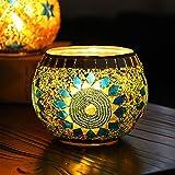 YJY European Style Glass Candle Holder - Handmade Mosaic(Sunflower) 3.9