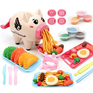 Deardeer Play Dough Sets Non-Toxic Playdough Playsets Noodle Machine Fun Kitchen Toy for Kids Children - 21pcs