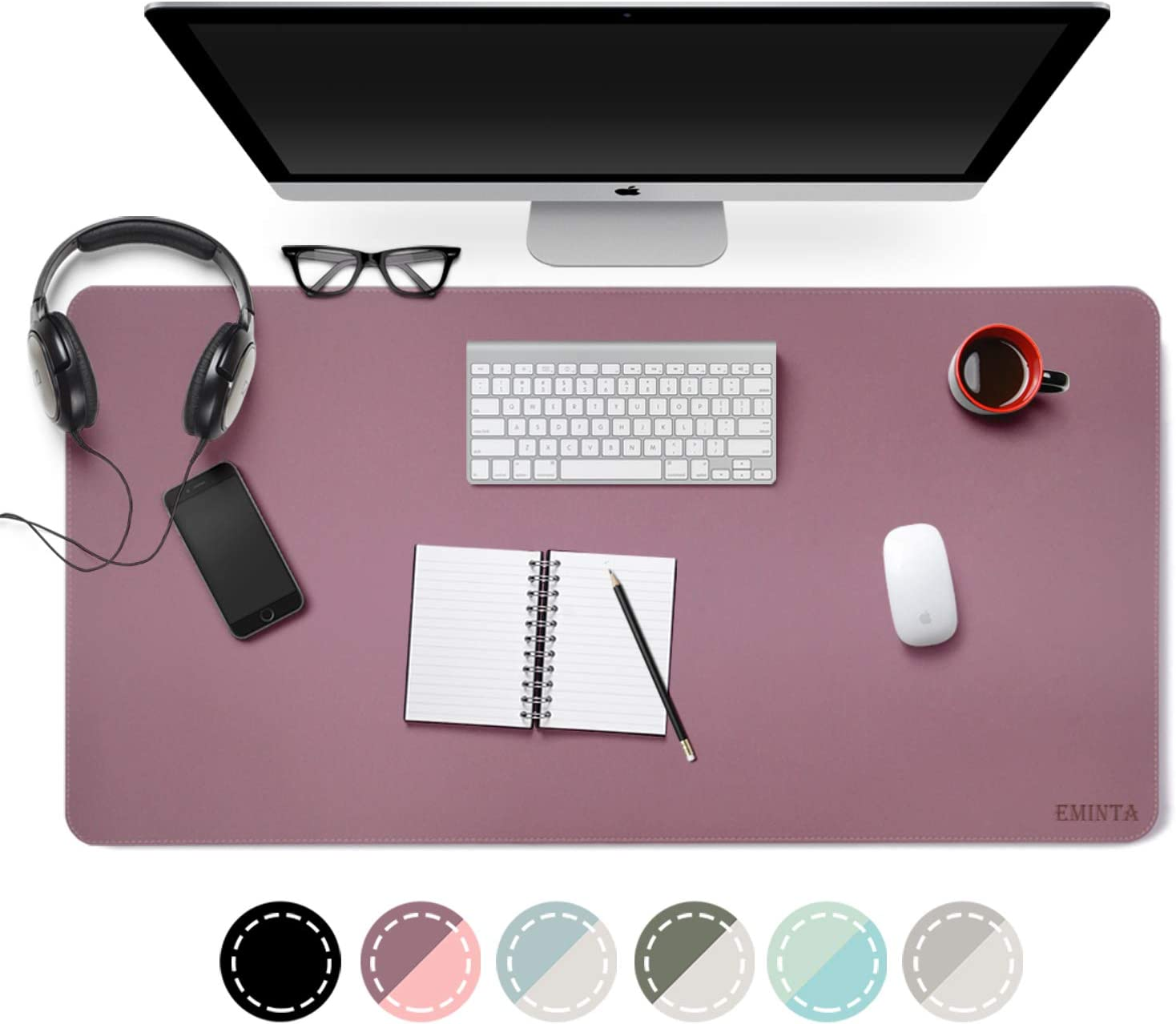 "Dual Sided PU Leather Desk Pad, 2019 Upgrade Sewing Edge Office Desk Mat, Waterproof Desk Blotter Protector, Desk Writing Mat Mouse Pad (Purple/Pink, 31.5"" x 15.7"")"