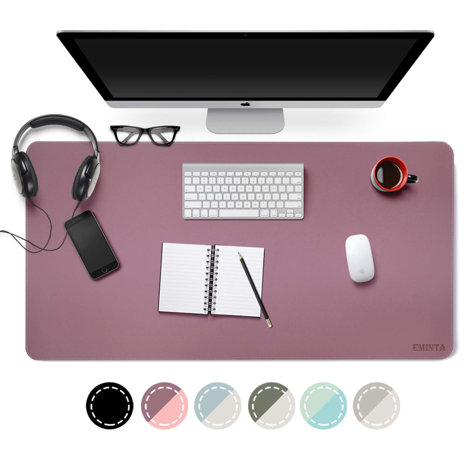 Dual Sided PU Leather Desk Pad, 2019 Upgrade Sewing Edge Office Desk Mat, Waterproof Desk Blotter Protector, Desk Writing Mat Mouse Pad (Purple/Pink, 31.5'' x 15.7'') by EMINTA